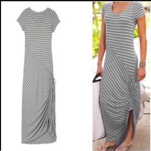 Athleta Stripe Short Sleeve Maxi Dress